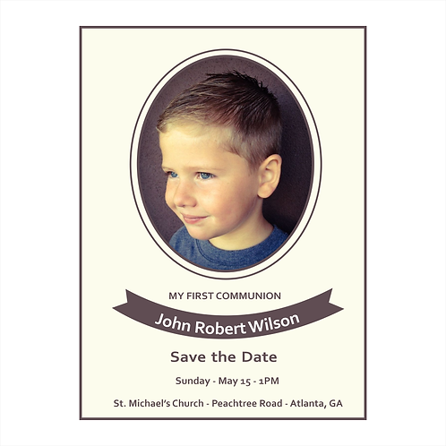 His Photo Communion Save the Date Magnet