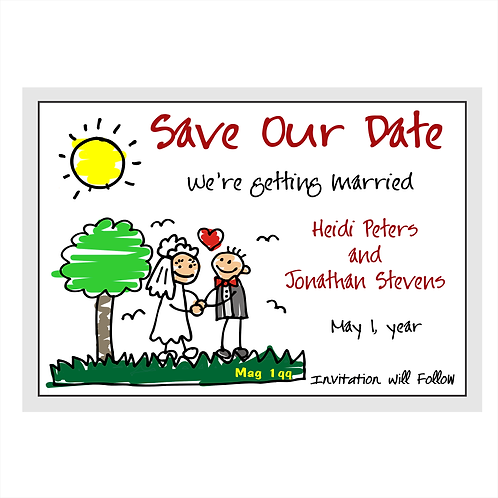 Stick Bride and Groom Wedding Save the Date Magnets