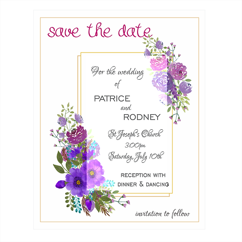 Deep Violet Bouquet Wedding Save the Date Magnets