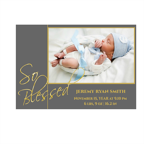 So Blessed Boy Announcement Card