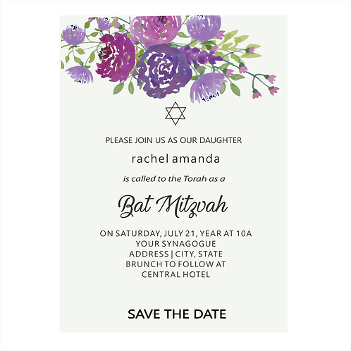 Lavender Floral Bat Mitzvah Save the Date Magnets