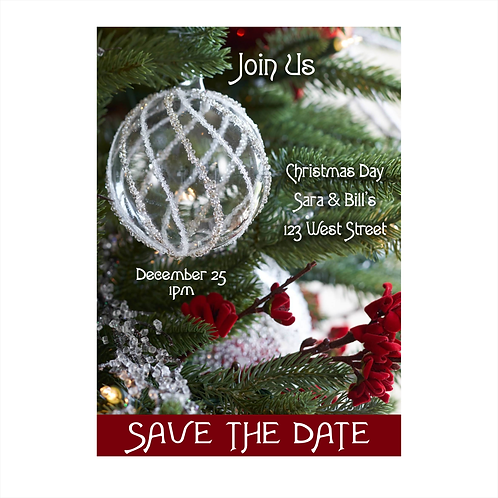 Iced Ornament and Red Accents Christmas Save the Date Magnet