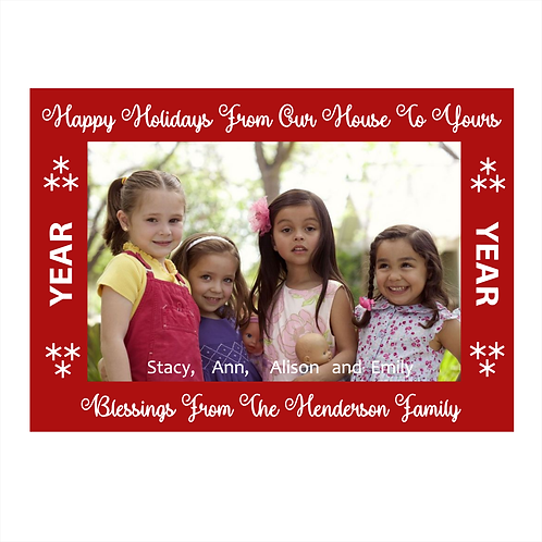 Our Family to Yours Christmas Photo Card Magnet