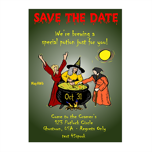 Stirring Up a Good Time Halloween Save The Date Magnets