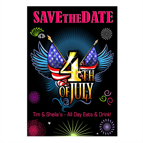 Flags and Fireworks Extraordinaire Save the Date Magnet