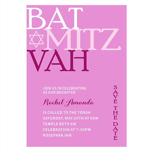 Bright Pink Bat Mitzvah Save the Date Magnet