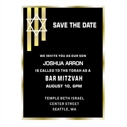 Gold Lines Elegant Bar Mitzvah Save the Date Magnets