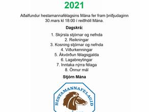 Aðalfundur Mána 30.mars