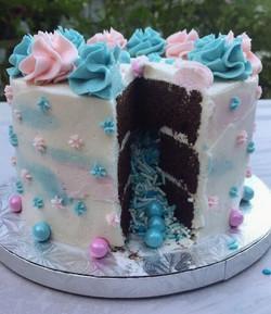inside of gender reveal cake