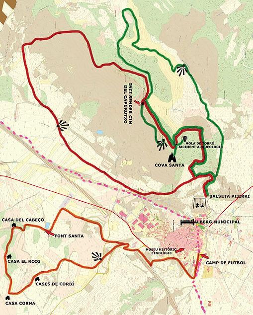 Plano de las sendas de la zona sur en La Font de la Figuera en Valencia