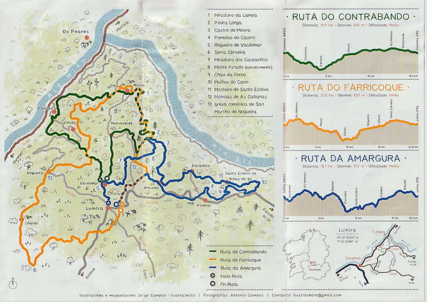 "Tríptico de las rutas de la asociación ""Móvete por Nogueira"" en Orense, Ribeira Sacra. Photoperiplo estuvo fotografiando por allí."