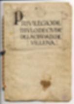 Fotografía del documento de conscesion del privilegio de título de ciudad a Villena