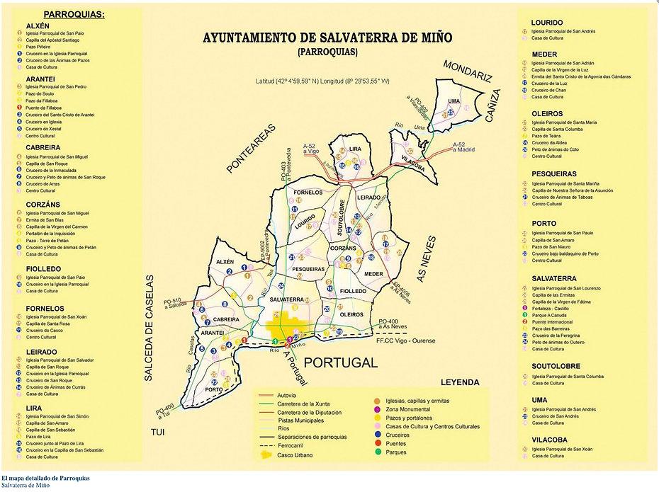Mapa con leyenda de las 17 parroquias de Salvaterra de Miño (Pontevedra) Galicia España