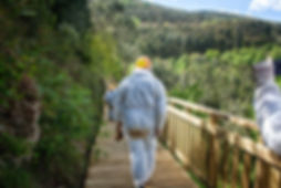 Ya de vuelta por la pasarela que accede a la Cova do Rei Cintolo en Modoñedo (Lugo) la de mayor tamaño de Galicia con sus 6.500 metros de galerías