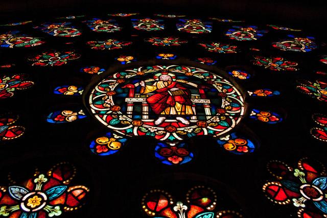 Pantocrátor central del rosetón gótico de la Catedral de Mondoñedo...