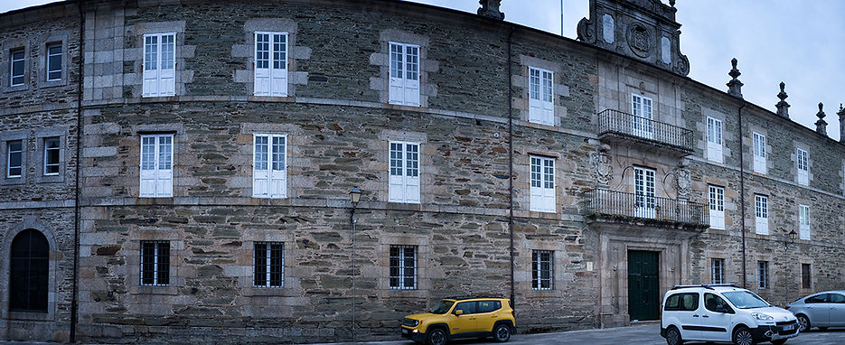 Fachada principal del Real Seminario Conciliar de Santa Catalina en Mondoñedo (Lugo) Galicia Spain. En la actualidad en una Hospedería con muy buena relación calidad precio