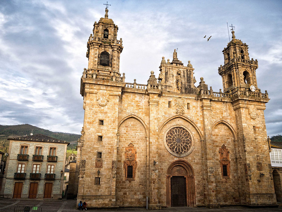 Vista general de la Catedral Basílica de La Asunción en Mondoñedo (Lugo) Galicia Spain