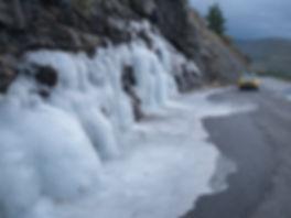 Ya de vuelta aún encontramos hielo como este...