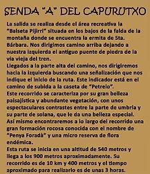 Leyenda senda A del Capurutxo en La Font de la Figuera en Valencia
