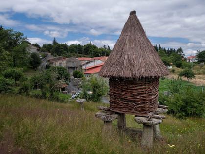 Cabaceiro o canastro en Pombar (Nogueira de Ramuín) Dice la Real Academia Galega que no es más que un hórreo que tiene las paredes hechasde mimbres o varas trenzadas.