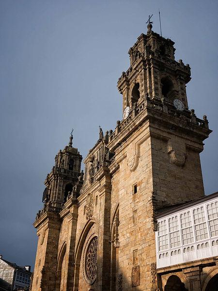 Vista exterior de la Catedral de Mondoñedo (Lugo) Galicia Spain, al lado el Palacio Episcopal que fue residencia de los Obispos mindonienses.
