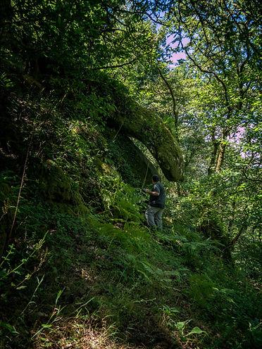 En la Ruta do Contrabando, entre los molinos se encuentra esta formación granítica que aparenta una gran sierpe. Está en Nogueira de Muñiz, en plena Ribeira Sacra y Photoperiplo estuvo allí fotografiando estos bosques...