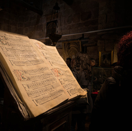 Algunos de los antiguos libros de canto aquí expuestos...