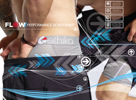 Product Design, Photoshoot & Ad Campaign for Ethika Flow Perfromance.