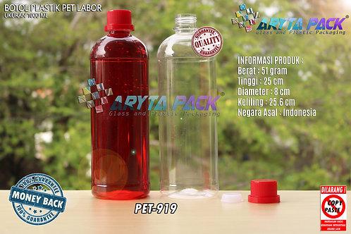 Botol plastik PET 1 Liter labor tutup segel merah