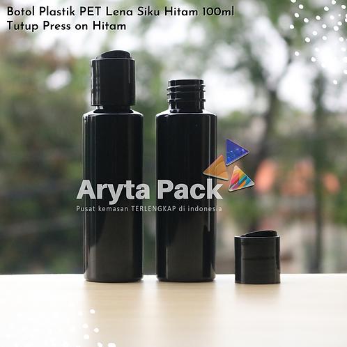 Botol plastik PET Lena siku 100ml hitam tutup press on hitam