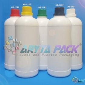 Botol plastik HDPE 1 liter labor putih susu tutup hijau