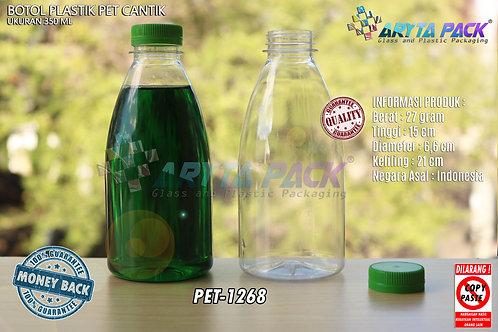 Botol plastik minuman cantik 350ml tutup segel hijau