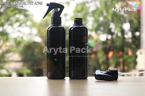 Botol plastik PET 250ml Joni hitam tutup spray pistol hitam