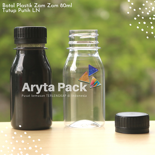 Botol plastik PET 80ml zam-zam tps tutup segel hitam