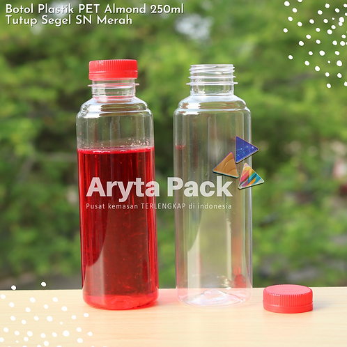 Botol plastik minuman 250ml almond tutup segel merah