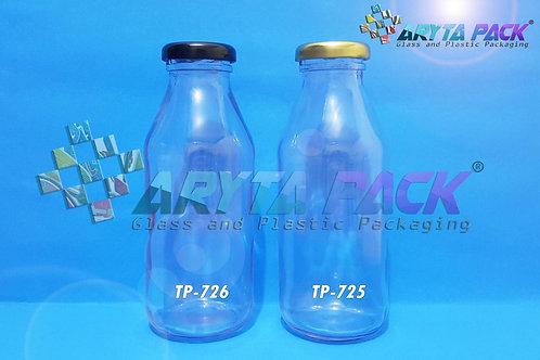 Botol kaca bening JUS 350ml new tutup hitam kaleng
