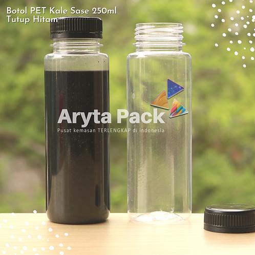 Botol plastik minuman 250ml jus kale sase tutup segel hitam