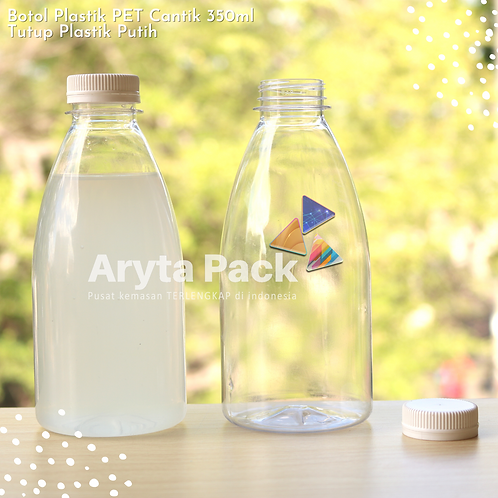 Botol plastik minuman cantik 350ml tutup segel putih
