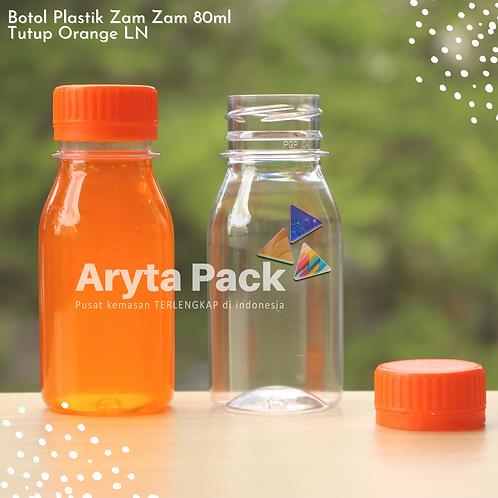 Botol plastik PET 80ml zam-zam tps tutup segel orange
