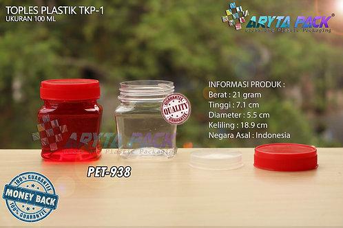 Toples plastik PET 100ml TKP-1 tutup merah