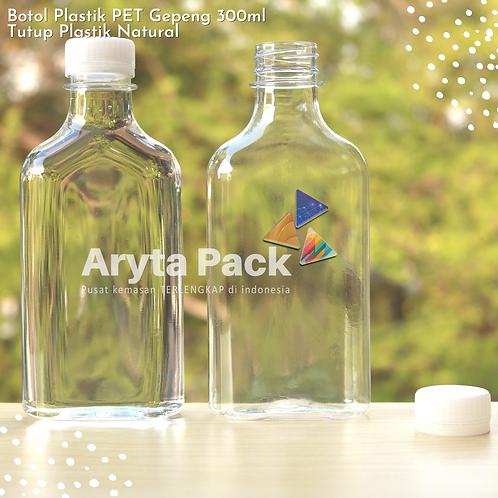 Botol plastik minuman 300ml gepeng tutup segel natual