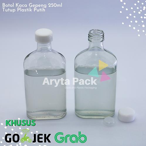 Botol kaca bening gepeng 250ml second tutup plastik warna - warni