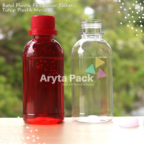 Botol plastik PET 250ml labor tutup segel merah