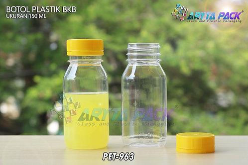 Botol plastik minuman 150ml BKB tutup segel kuning
