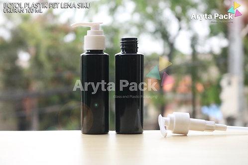 Botol plastik PET 100ml Lena siku hitam tutup pump putih susu