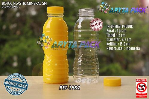 Botol plastik pet 200ml aqua tutup segel kuning