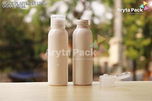 Botol plastik PET Lena 100ml  putih susu tutup flip top natural