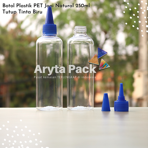 Botol plastik PET 250ml Joni tutup tinta biru