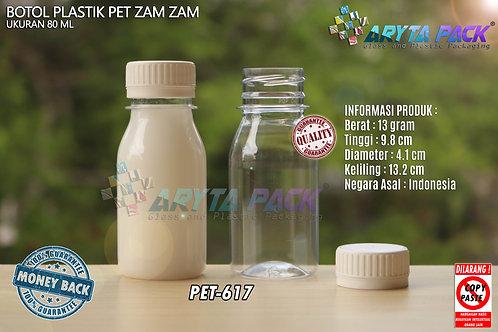Botol plastik PET 80ml zam-zam tutup segel putih