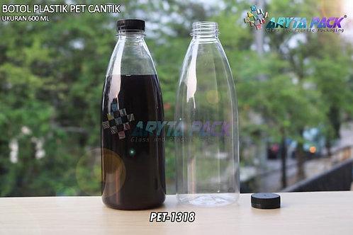 Botol plastik minuman cantik 600ml tutup segel hitam